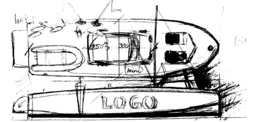 Load Master Boats' eerste idee zwart wit